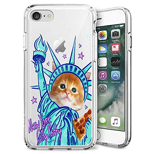 (iPhone 7 8 Case, Soft TPU Slim-Fit Flexible Ultra-Thin Clear Case, Full-Body Rugged Bumper Print New York City Kitty Case for iPhone 7 8,)