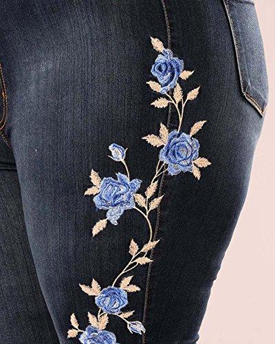 Slim Bleu Collant Haute Crayon Denim Jeans Femme Leggings ZhuiKun Taille Fonc Broderie Skinny Pantalons ITq7g