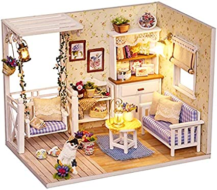 Fsolis DIY Dollhouse Miniature Kit with Furniture Miniature Dolls House kit Creative Gift 3D Wooden Miniature House with Dust Cover and Music Movement