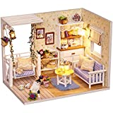 CUTEBEE Dollhouse Miniature with Furniture, DIY Wooden Dollhouse Kit Plus Dust Proof and Music Movement, 1:24 Scale Creative Room Idea. Happy Times