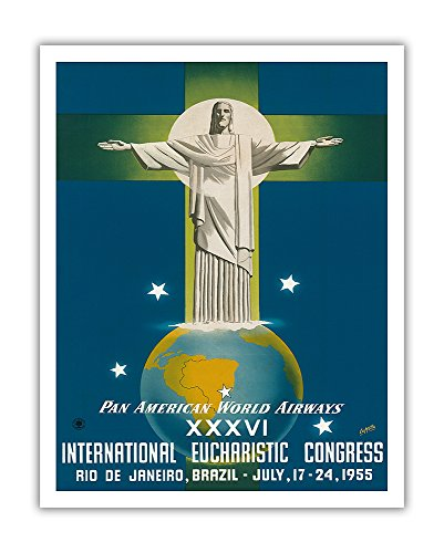 Rio De Janeiro, Brazil - Christ the Redeemer Statue - Pan American World Airways - Vintage Airline Travel Poster by La Motta c.1955 - Fine Art Print - 11in x 14in (Statue Rio Christ Redeemer)