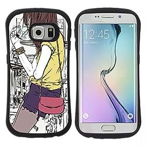 "Pulsar iFace Series Tpu silicona Carcasa Funda Case para Samsung Galaxy S6 EDGE , Hipster Bag Girl Fashion Art fumadores"""