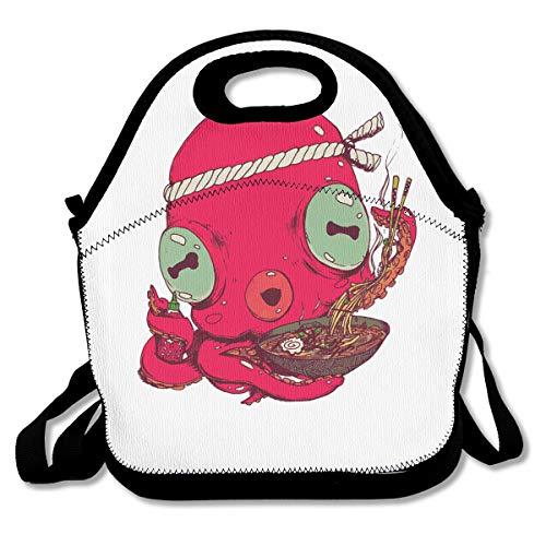 (Octopus Eat Lobster Ramen Portable Lunch Box Bag Insulated Waterproof Travel Storage Handbag for Women Adults)