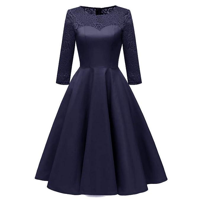 ❤ Modaworld Vestidos de Fiesta Mujer Vestido de Cóctel de Encaje Floral de Princesa para Mujer Vestidos Largos Aline Swing de Mujer de Boda de Noche: ...