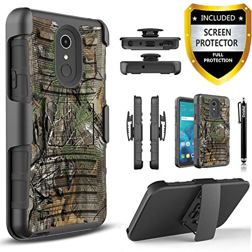 LG Q7 Plus Case, LG Q7 Case, with [Premium Screen Protector Included] Circlemalls Combo Built-in Kickstand Heavy Duty Belt Clip Holster Phone Cover W/Stylus Pen for LG Q7/Q7 Plus/Q7 Alpha-Camo