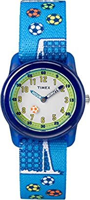 Timex Kid's Casual Time Machines Soccer TW7C165002Y White Dial and Blue Elastic Fabric Band W