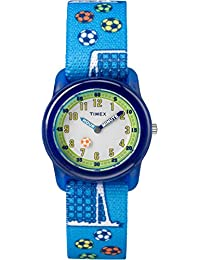 Timex Kid's Casual Time Machines Soccer TW7C165002Y White Dial and Blue Elastic Fabric Band Watch