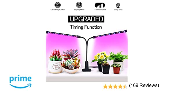 UPGRADED Timing Function Auto Off Dual head Grow light 36LED 3 working  modes 5 Dimmable Levels Full spectrum for Indoor Plants with 360 Degree