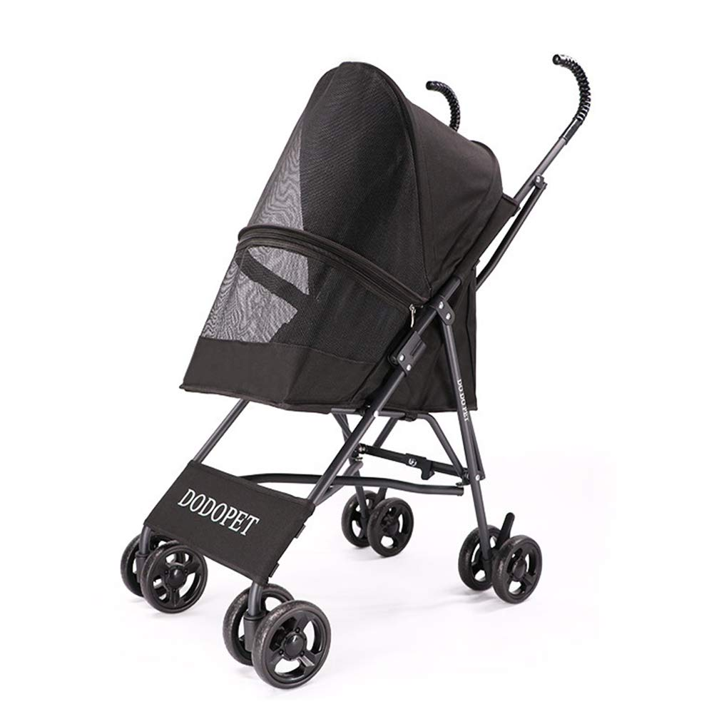 Black Yiqing Pet Stroller Free Inssizetion Cat and Dog Out Portable Trolley