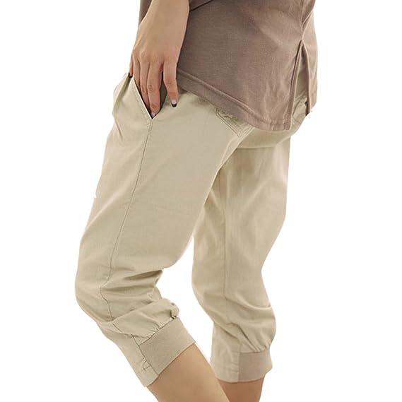 df00631bf4 Juleya 3 4 Shorts para Mujeres - Pantalones Harem Capri recortados Cinturón  Gratuito Pantalones elásticos Bolsillos Pantalones Cortos de Oficina de  Verano ...