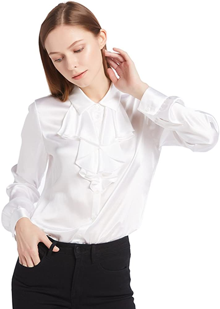 Edwardian Blouses |  Lace Blouses & Sweaters LilySilk Silk Blouses for Women Cascade Collar Tie Long Sleeve Shirt 22 Momme Pure Charmeuse Silk $99.99 AT vintagedancer.com