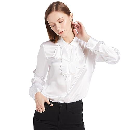 Lilysilk Camisa de Seda DE 22 Momme con Volantes