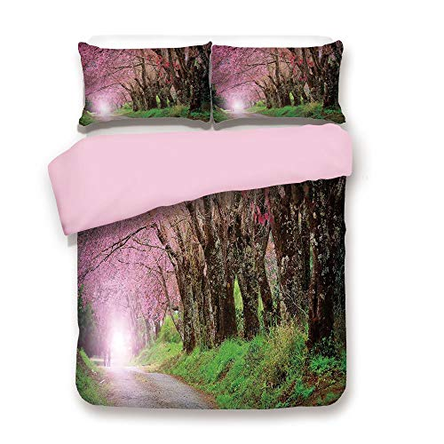 Pink Duvet Cover Set,King Size,National Park in Chiang Mai Cherry Blossoms Spring Picture,Decorative 3 Piece Bedding Set with 2 Pillow Sham,Best Gift for Girls Women,Fuchsia Brown Fern Green ()