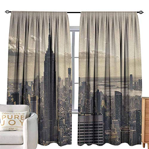 Andrea Sam Sheer Curtains New York,Aerial View of NYC in Winter American Architecture Historical Popular Metropolis, Beige Grey Machine Washable,W96 x L84 inch