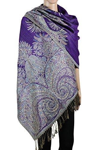 Achillea Luxurious Big Paisley Jacquard Layered Woven Pashmina Shawl Wrap Scarf Stole (Purple) (Reversible Paisley Pashmina Shawl)