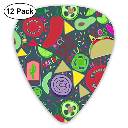 Green Pepper Avocado Bendy Ultra Thin 0.46 Med 0.73 Thick 0.96mm 4 Pieces Each Base Prime Plastic Jazz Mandolin Bass Ukelele Guitar Pick Plectrum Display