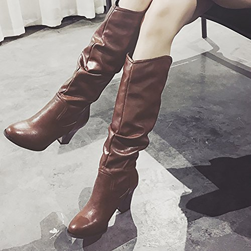 Calf Mid ODEMA Brown PU Boots High Riding Leather Chunky Women's Slouch Heels Block Z6qB8