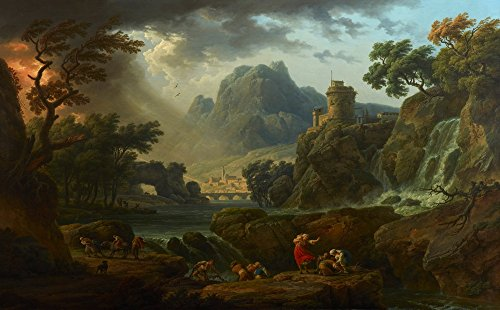 Berkin Arts Claude Joseph Vernet Giclee Canvas Print Paintings Poster Reproduction(A Mountain Landscape with an Approaching Storm)