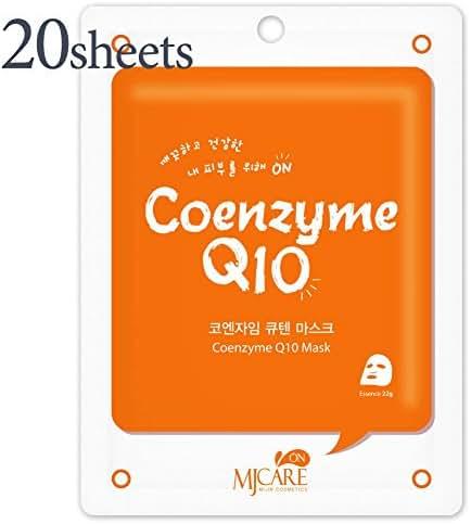 20 Pcs, Hydrating Premium Essence Mask, Korean Beauty Facial Mask Sheet, 45 Value-Pack, Coenzyme Q10 Essence