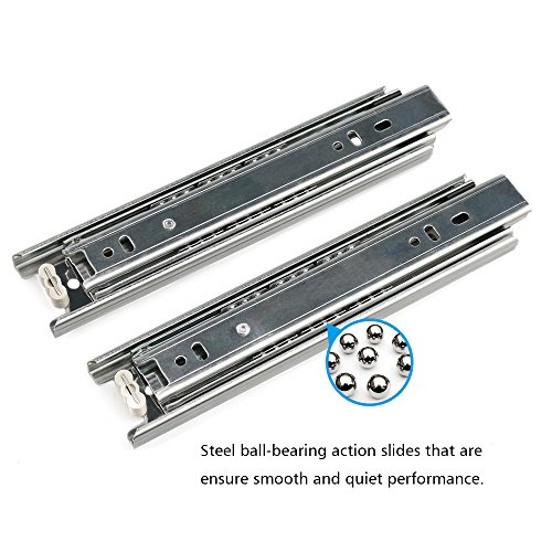 URBEST Drawer Slides 2Pcs 10 Inch 3-Fold Smooth Telescopic Full Extension Ball Bearing Mount
