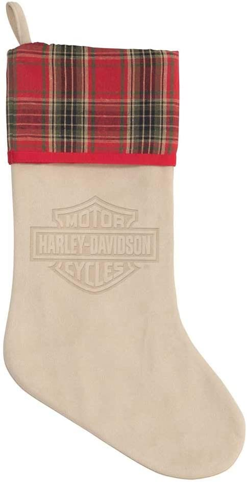 Harley-Davidson Winter Holiday Stocking - Antique White Faux Suede HDX-99187