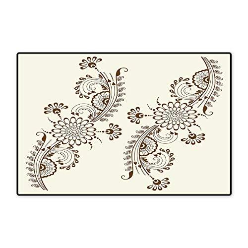 (Henna Bath Mats for Bathroom Abstract Floral Elements South Asian Mehndi Style Oriental Design Soft Color Scheme Floor mat Bath Mat 20