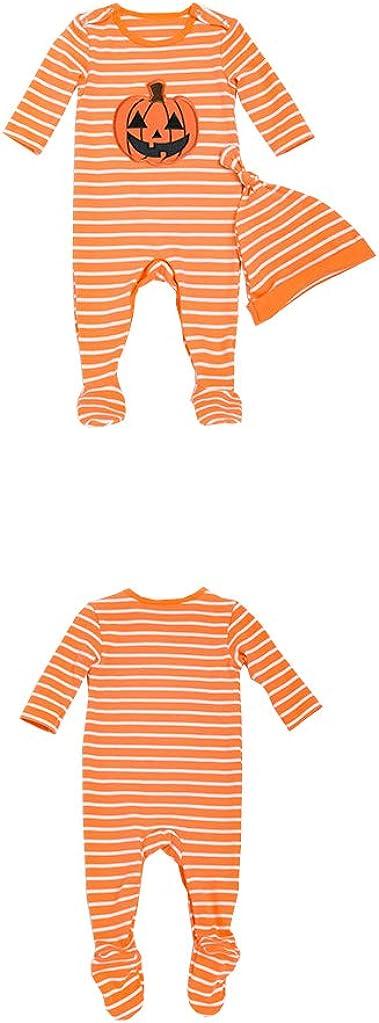 AIKSSOO 2 Pcs Infant Toddler Baby Outfit Set Halloween Pumpkin Footies with Cap