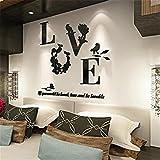 UNKE DIY Love 3D Acrylic Mirror Flower Wall Sticker Art Decal Home Bedroom Decor