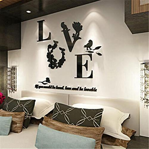 UNKE DIY Love 3D Acrylic Mirror Flower Wall Sticker Art Decal Home Bedroom Decor