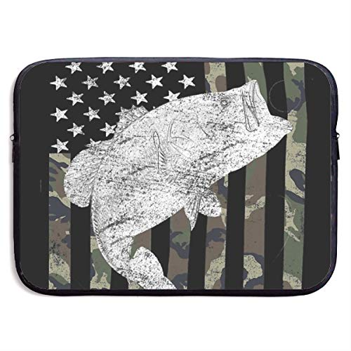 (Green Camo Camouflage Flag Bass Fishing Angler Laptop Sleeve Tote Bag Waterproof Soft Carrying Case Cover Bag for 15 Inch Computer)