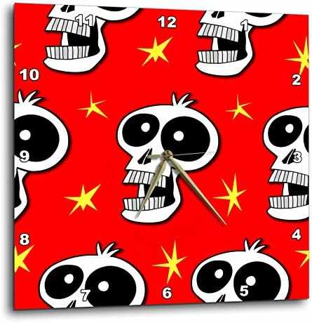 3dRose DPP_58959_1 Skull Pattern Toon Skull 2A on Red Wall Clock, 10 by 10-Inch