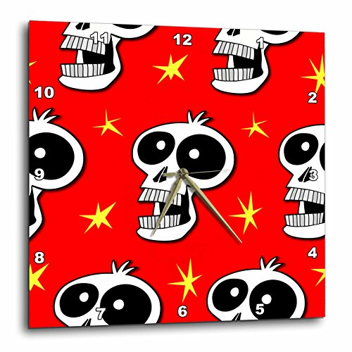 3dRose dpp_58959_1 Skull Pattern Toon Skull 2A on Red Wall Clock, 10 by 10-Inch