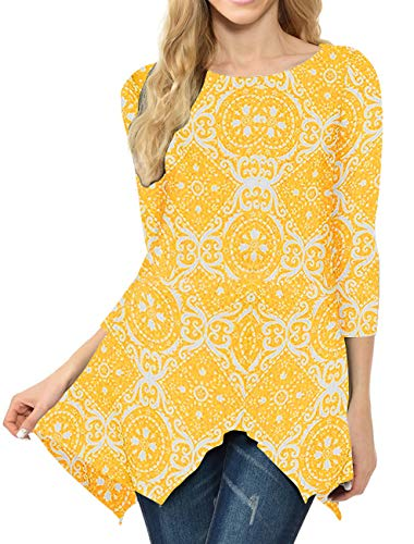 MIROL Women's Spring Floral Print 3/4 Sleeve Irregular Hem Asymmetrical Tunic Loose Long Blouse Tops (Small, Yellow Flower)