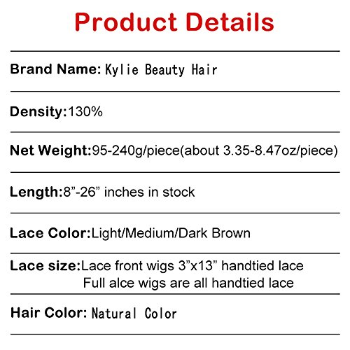 Top 8A Full Lace Human Hair Wigs For Black Women 130% Density Brazilian Loose Wave Curly Front Lace Wigs Lace Front Human Hair Wigs Baby Hair by Kylie Beauty Hair (Image #8)