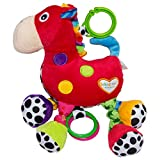 Rachna's Baby Cans Plush Stuffing Stroller Crib Hanging Clip On Teether Musical Rattle Soft Toy - Horse - Red