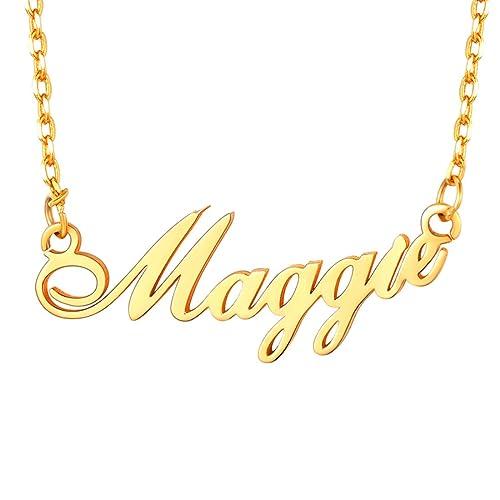 73ae102b25aaa Amazon.com: U7 Personalized Necklace Choker Charm Jewelry Platinum ...
