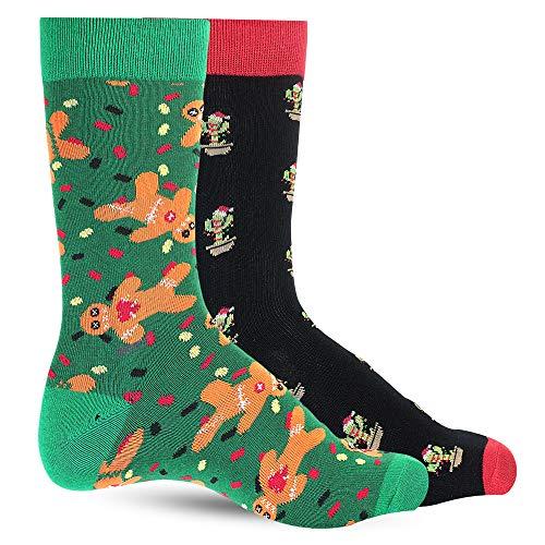 Christmas Dress Socks For Men Crazy Socks For Men's: Mens Funny, Cool, Funky, Gingerbread Cactus