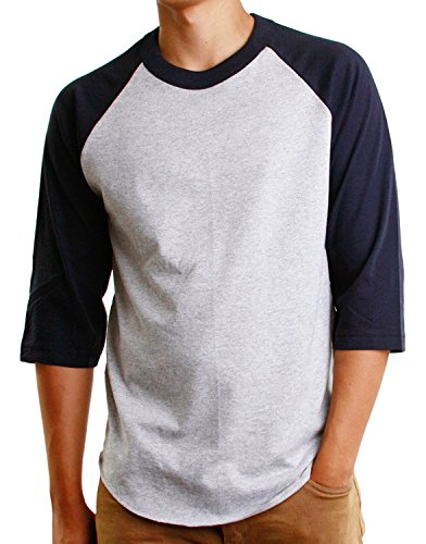 Mens 3/4 Raglan Sleeve Athletic Shirts Casual Tees for Men Baseball T-Shirt, (X-Large, Gray/Navy) (Navy Classic Ringer T-shirt)