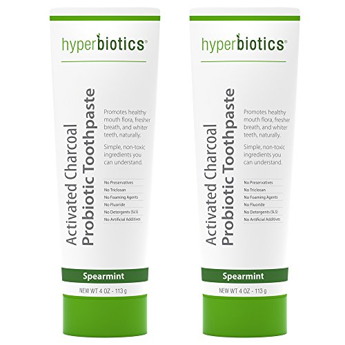 Probiotic Charcoal Toothpaste: All Natural with Xylitol and Organic Coconut Oil - Fluoride Free - Spearmint (4oz) (2-Pack)