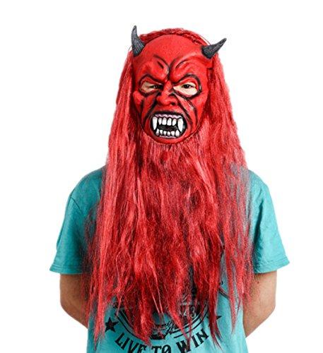 micrkrowen Halloween Red-Haired Monster Long Beard Terror Mask