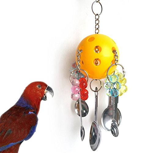 BoomTeck Birds Chewing Toy,Spoon Delight Parrot Cage Hanging Toy for Small & Medium Birds Conure, Cockatiels, African Greys, Amazons Eclectus, Cockatoo, Parakeet and Mini Macaws