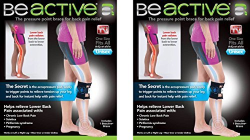 Be-ACTIVE Braces Beactive Acupressure for Sciatica Pain As Seen on TV- Set of 2 Braces, Black/Blue ()