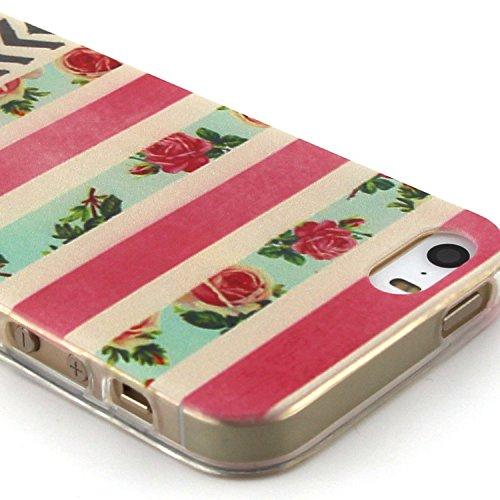 Fashion Coque pour Apple iphone 5/5s, Crystal Housse en Soft TPU Gel Silicone pour iphone 5s, iphone 5 Flexible Souple Cas Back Case Cover de Protection, Ultra Slim Créatif Dessin Couleur Motif de Flo