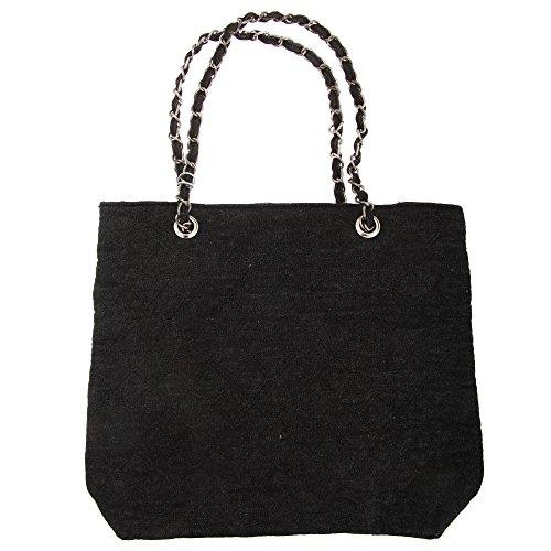 Bolso de asas con cadena para niñas/chicas Negro