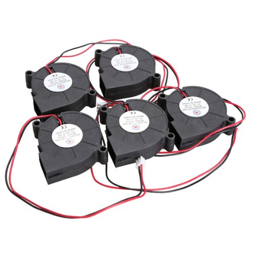 Vktech 5Pcs Black Brushless DC Cooling Blower Fan 5015S 5V 0.1-0.3A 50x15mm