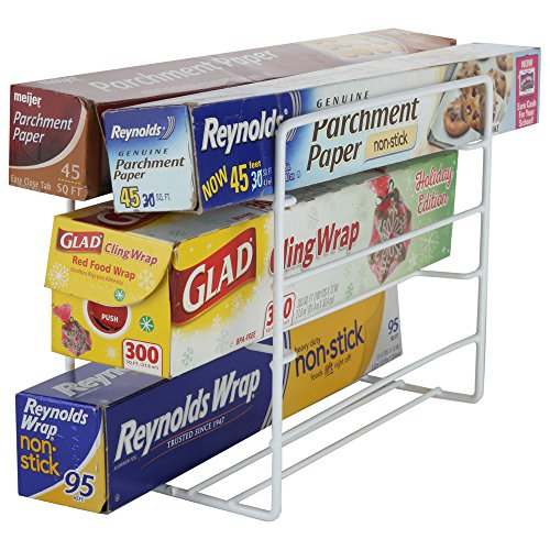 - Home-X - Kitchen Wrap Organizer Rack, Steel Wire Rack is the Perfect Addition to Any Kitchen and Holds Up to 6 Products for Easy-To-Access Use