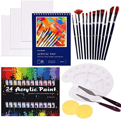 COOL BANK Acrylic Paint Set, 46 Piece Professional Painting Supplies Set, Includes 24 Acrylic Paints, 12 Painting Brushes, Canvas, Palette, Acrylic Painting Pad, for Artists,Students and Kids