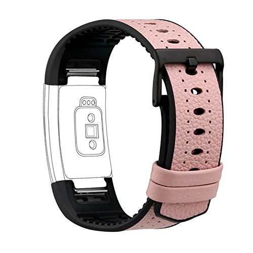 Pink Leather Band (For Fitbit Charge 2 Bands, Genuine Leather Replacement Bands for Fitbit Charge 2 Pink Leather with Black TPU)