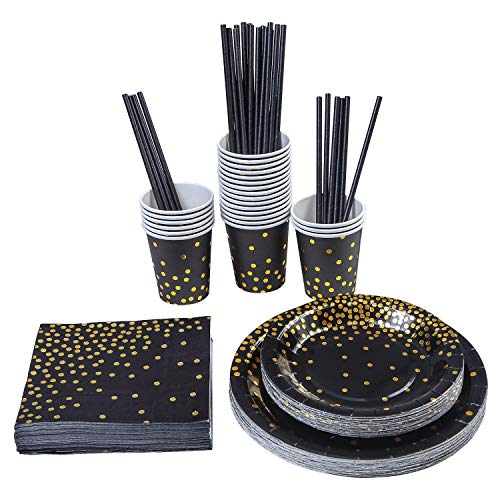Aneco 146 pieces Black With Gold Foil Party Supplies Disposable Party Tableware Set for Graduation, Party, for 24 Guests ()