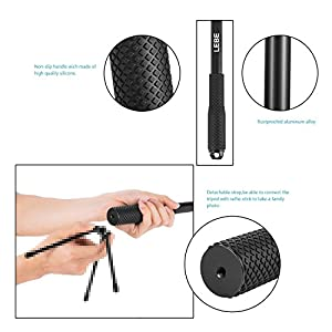 HTKJ Selfie Stick Extendable Handheld Monopod Waterproof Rust-Preventing and Anti-reflective Pole 14-43.3 Inches for GoPro Hero 6/5/4/3+/3/2/1/Session Cameras, Compact Cameras and Smartphones